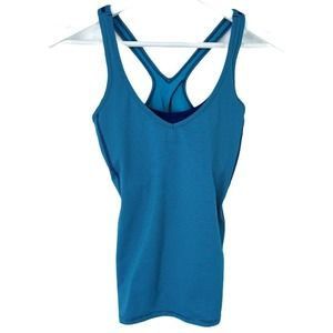 Lucy Teal Navy Striped Workout Tank Top